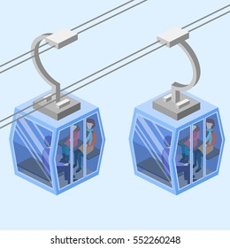 Isometric flat 3D isolated concept vector Cableway in the mountains.
