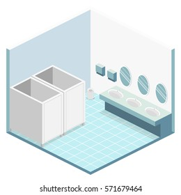Isometric flat 3D isolated concept vector cutaway interior of public toilet