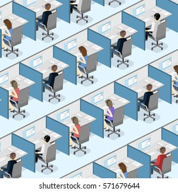 Isometric flat 3D isolated concept vector cutaway interior men and women working with headset in a call center. Customer support. People working in the office.