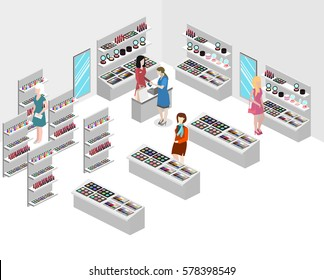 Isometric flat 3D isolated concept vector interior cosmetics shop