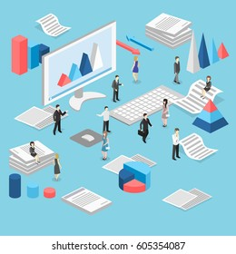 Isometric flat 3D isolated concept vector cutaway interior office workplace with people.