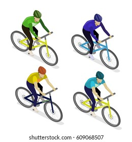 Isometric flat 3D isolated concept vector the group of cyclists man in road bicycle racing.