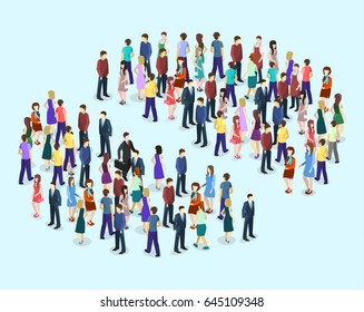 Isometric flat 3D isolated concept vector Infographic chart consisting of a crowd of people