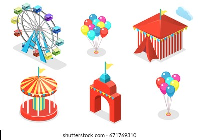 Isometric flat 3D isolated concept vector city banners with carousels. amusement park.