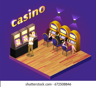 Isometric flat 3D isolated concept vector cutaway interior casino. Men and women play slot machines in casinos