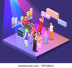 Isometric flat 3D isolated concept vector cutaway Bar in the nightclub.. People are dancing