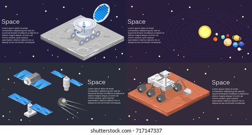 Isometric flat 3D isolated concept vector of a lunar rover on the surface of the moon, solar system, planets, satellites