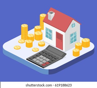 Isometric flat 3D isolated vector property Investment concept. House and real estate money investment.