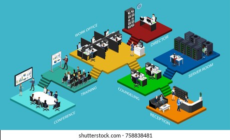 Isometric flat 3d office interior departments concept vector. Conference hall, offices, workplaces, director of the office interior