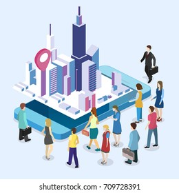 Isometric flat 3D vector exhibition promotion stand. Trade show booth. Presentation of a new mobile application for working with maps