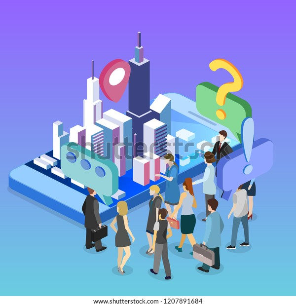 Isometric Flat 3d Vector Exhibition Promotion Stock Vector Royalty Free 1207891684