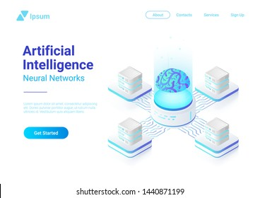 Isometric flat Artificial Intelligence Neural Networks future technology concept vector design. Digital Brain connected with servers computing systems. AI, ANN illustration.