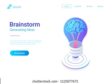 Isometric Flat Brainstorm ideas vector illustration. Brain in Light Bulb Lamp generate think creative innovation idea isometry 3D concept.