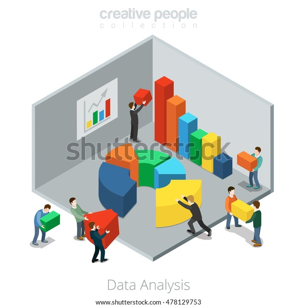Isometric Flat Businesspeople Moving Diagram Segments Stock Vector  Royalty Free  478129753