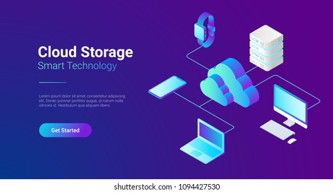 Isometric Flat Cloud Hosting Network vector illustration. Online Computing Storage 3D isometry concept. Smartwatch, Computer, Laptop, Mobile phone objects.