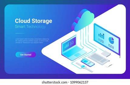 Isometric Flat Cloud Hosting Network vector Banner Design. Online Computing Storage 3D concept. Smartwatch, Computer, Laptop, Mobile phone objects.