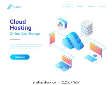 Isometric Flat Cloud Hosting Network vector Banner Design. Online Computing Storage 3D colorful concept. Smartwatch, Computer, Laptop, Mobile phone objects.