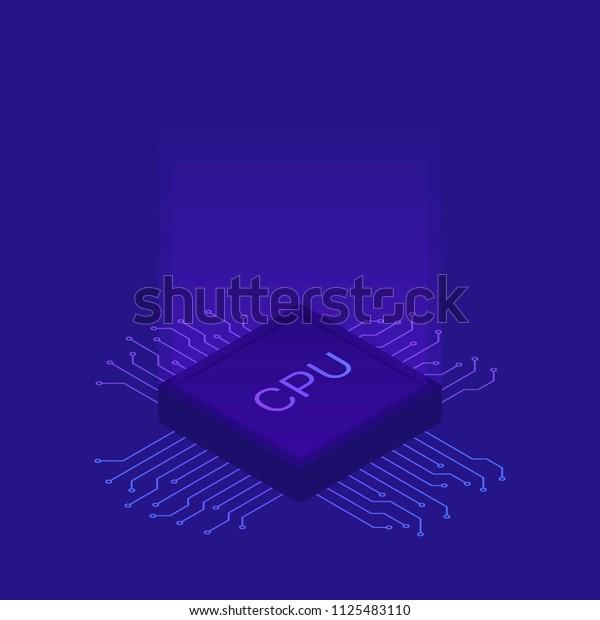 Isometric Flat CPU GPU Processor Chip. Modern vector illustration.
