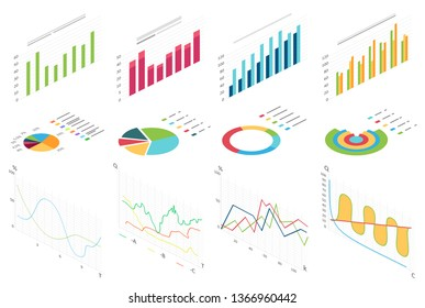 Isometric flat data finance graphic, business finance charts for infographic. Waves graph data, 2d diagram statistics, information columns isolated vector illustration.