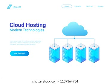 Isometric Flat Data Hosting Servers connected to Cloud vector illustration.
