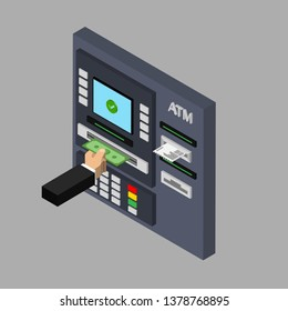 Isometric flat design of ATM machine. Withdrawing money from ATM. Using automat terminal. Vector illustration. Isolated.