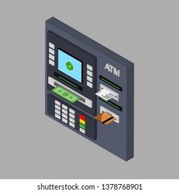 Isometric flat design of ATM machine with cash, credit card and check. Withdrawing money from ATM. Using automat terminal. Vector illustration. Isolated.