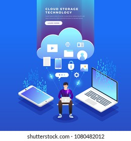 Isometric flat design concept cloud technology data transfer and storage. Connecting information. Vector illustrations.