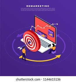 Isometric flat design concept digital marketing retargeting or remarketing. online banner ad network. Vector illustrations.