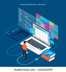 Isometric flat design concept programmer and coding. Vector illustration. Website layout design.