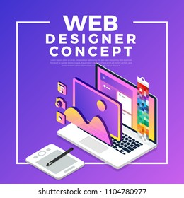 Isometric flat design concept web designer. Vector illustration. Website layout design.