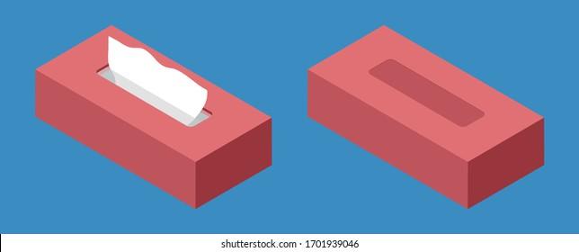 Isometric flat design red tissue paper vector illustration