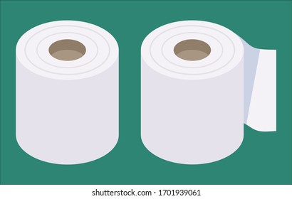 Isometric and flat design toilet paper vector illustration