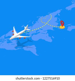Isometric flat design travel the world transportation airplane drawing a heart shape ant path flying from Asia