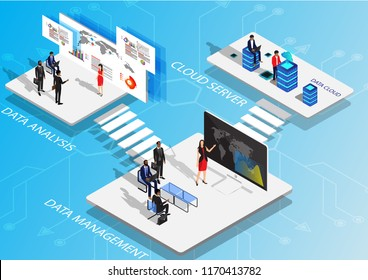 Isometric flat design.Concept business strategy. Analysis data cloud and Investment,Digital marketing