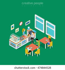 Isometric flat eatery, canteen, cafe or dining room interior in school, college or university vector illustration. Food and drink 3d isometry concept. Coffee, snack donuts, desserts and lemonade.