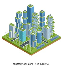 Isometric flat Eco-architecture. Green skyscraper building with plants growing on the facade. Ecology and green living in city, urban environment concept.