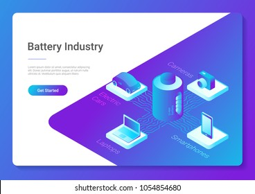 Isometric flat electric car laptop smartphone camera using Li-ion Battery concept vector design template for website banner poster.