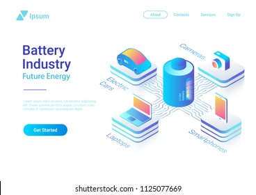 Isometric flat electric car laptop smartphone camera using Li-ion Battery concept vector colorful design template for website banner poster.
