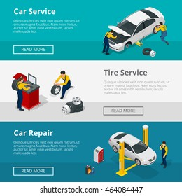 Isometric Flat horizontal banners with scenes presents workers in car or tire service and car repair vector illustration.