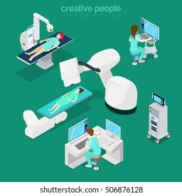 Isometric flat hospital modern equipment, computer diagnostic vector illustration. Healthcare, Innovative medicine 3d isometry concept. Doctor, operator, patient characters.
