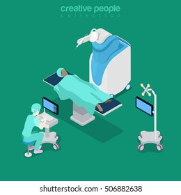 Isometric flat hospital modern equipment, robot-assisted surgery vector illustration. Healthcare, Innovative medicine 3d isometry concept. Doctor, operator, patient characters.