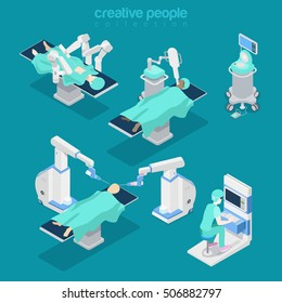 Isometric flat hospital modern equipment, robot-assisted brain surgery vector illustration. Healthcare, Innovative medicine 3d isometry concept. Doctor, operator, patient characters.