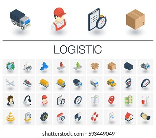 Isometric flat icon set. 3d vector colorful illustration with Logistic, delivery business, distribution symbols. Service, export, shipping, transport colorful pictogram Isolated on white