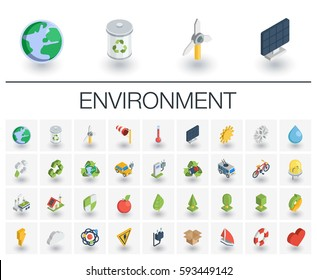 Isometric flat icon set. 3d vector colorful illustration with ecology symbols. Eco, bio, environmental, wind power, recycle colorful pictogram Isolated on white