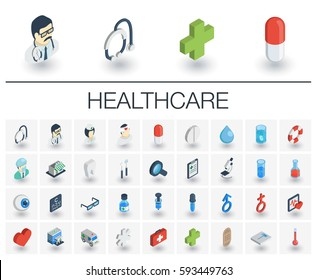 Isometric flat icon set. 3d vector colorful illustration with medical, medicine, healthcare symbols. Dentist, health, ambulance, care, doctor, pills, cross colorful pictogram Isolated on white