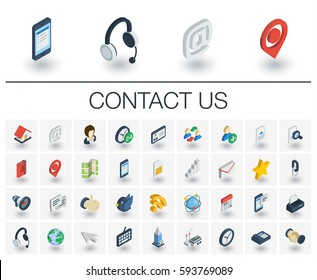 Isometric flat icon set. 3d vector colorful illustration with contact us symbols. Communication, home, call, speech bubble, email, letter, envelope, handshake colorful pictogram Isolated on white