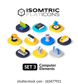 Isometric flat icons, 3D pictogram vector set 3 - computer symbol collection