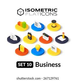 Isometric flat icons, 3D pictogram vector set 10 - Business symbol collection