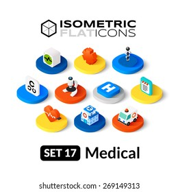 Isometric flat icons, 3D pictogram vector set 17 - Medical symbol collection