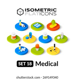 Isometric flat icons, 3D pictogram vector set 18 - Medical symbol collection
